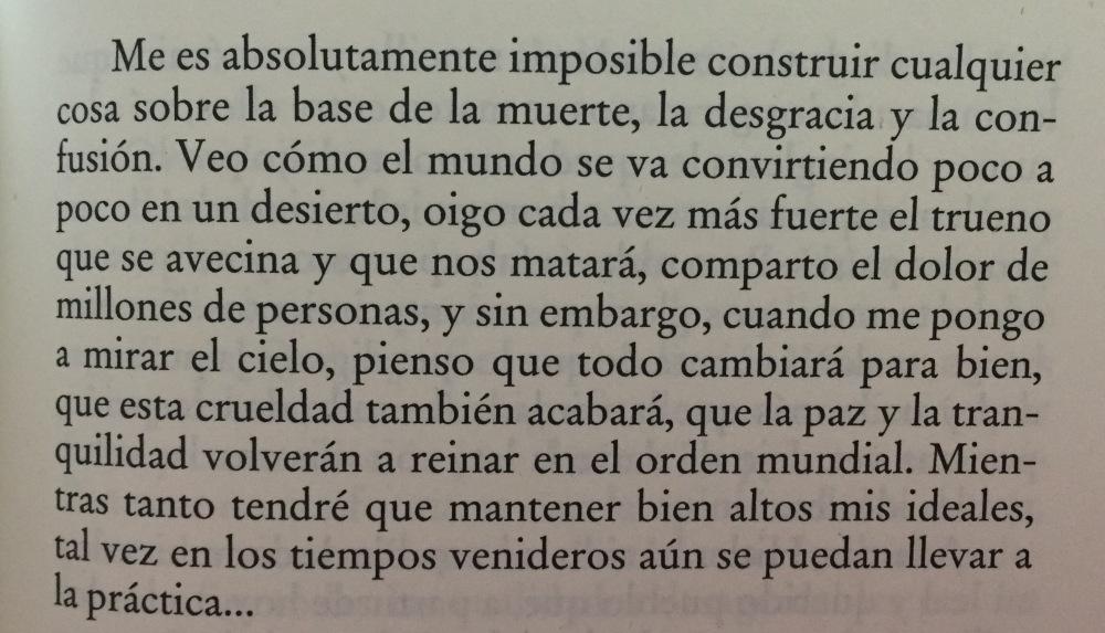 Fragmento del libro El diario de Ana Frank