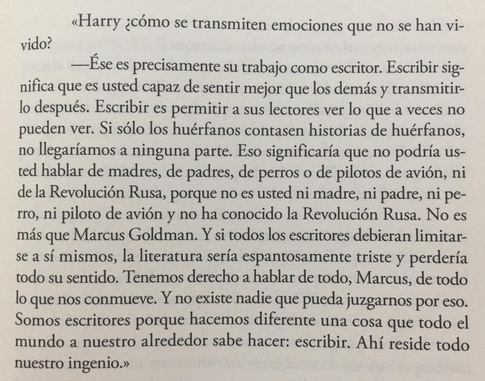 Fragmento del libro La verdad sobre el caso Harry Quebert de Joël Dicker