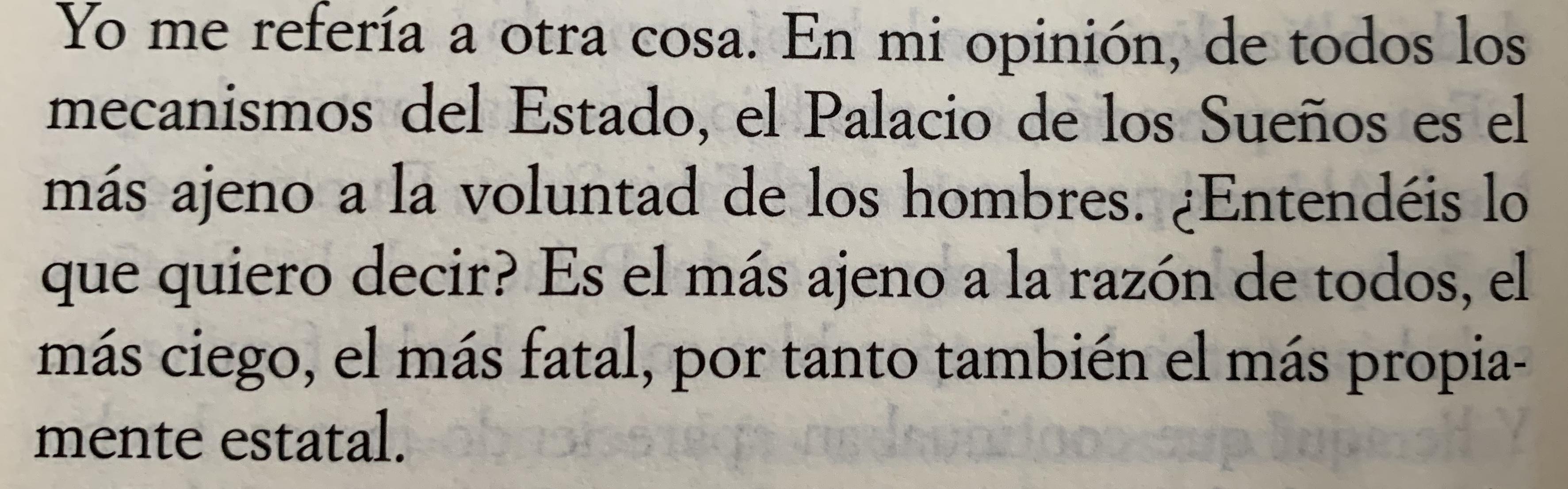 Fragmento del libro El palacio de los sueños de Ismail Kadaré