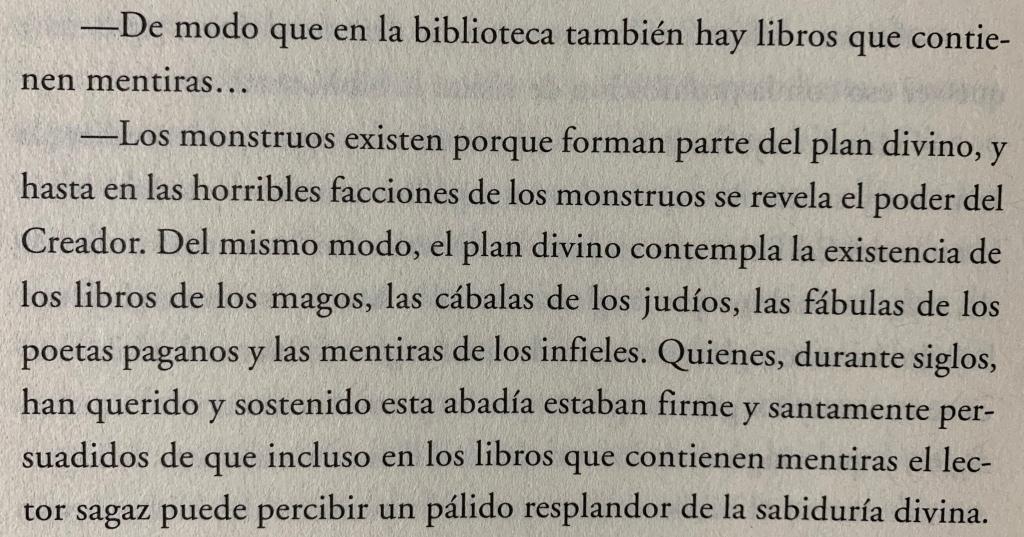 Fragmento del libro El nombre de la rosa de Umberto Eco